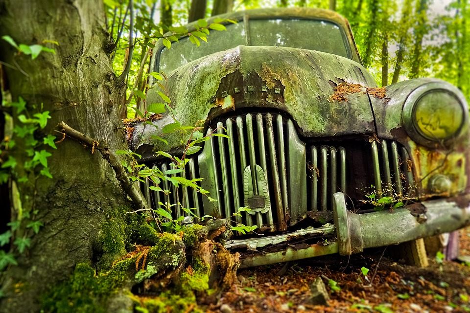Disposing of an Old Car;https://pixabay.com/photos/auto-car-cemetery-oldtimer-old-3378192/