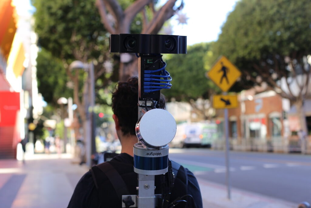 Scanning the streetscape on foot